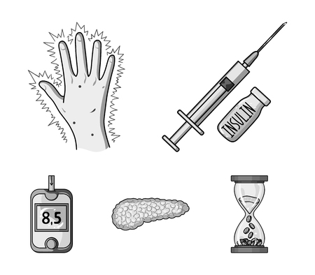 Syringe with insulin, pancreas, glucometer, hand diabetic. Diabet set collection icons in monochrome style vector symbol stock illustration .