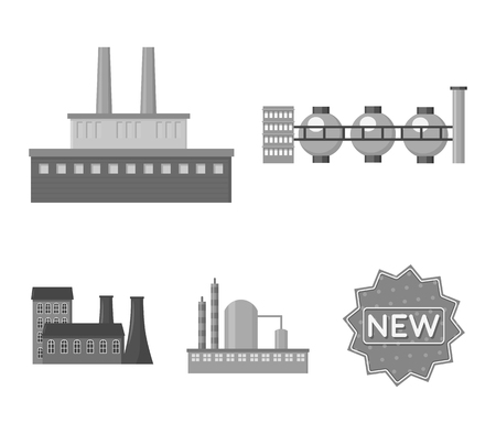 Factory set collection icons in monochrome style vector symbol stock illustration.