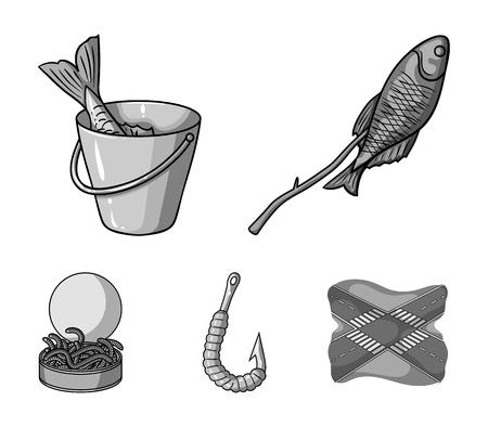 Fishing, fish, shish kebab .Fishing set collection icons in monochrome style vector symbol stock illustration .