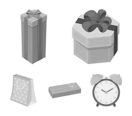 Gift box with bow, gift bag.Gifts and certificates set collection icons in monochrome style vector symbol stock illustration web.