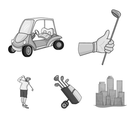 A gloved hand with a stick, a golf cart, a trolley bag with sticks in a bag, a man hammering with a stick. Golf Club set collection icons in monochrome style vector symbol stock illustration .