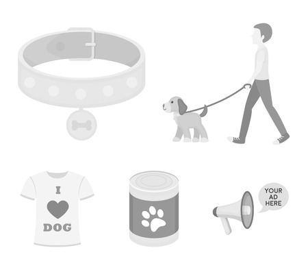 A man walks with a dog, a collar with a medal, food, a T-shirt I love dog.Dog set collection icons in monochrome style vector symbol stock illustration web.