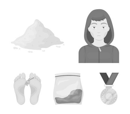 Addict, cocaine, marijuana, corpse.Drug set collection icons in monochrome style vector symbol stock illustration web.