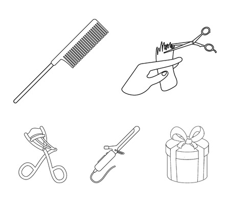 Hairdresser set collection icons in outline style vector symbol stock illustration. Illustration
