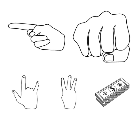 Hand gestures set collection icons in outline style vector symbol stock illustration .