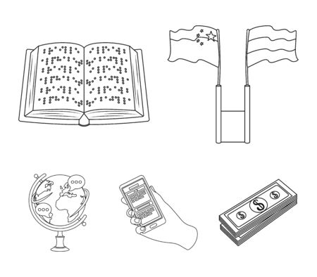 Two flags, a book for the blind, a hand with a phone with translated text, a globe of the Earth. Interpreter and translator set collection icons in outline style vector symbol stock illustration web.