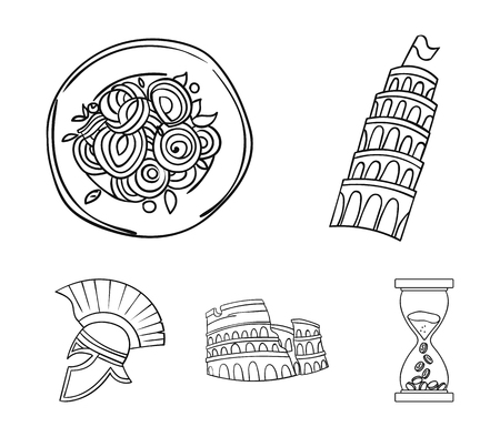 Pisa tower, pasta, coliseum, Legionnaire helmet.Italy country set collection icons in outline style vector symbol stock illustration . Illustration
