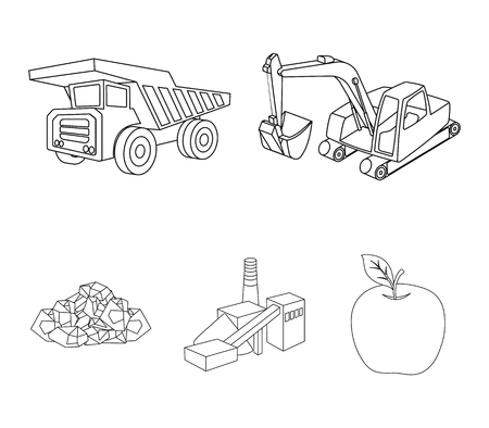 Excavator, dumper, processing plant, minerals and ore.Mining industry set collection icons in outline style vector symbol stock illustration .