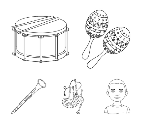 Maracas, drum, Scottish bagpipes, clarinet. Musical instruments set collection icons in outline style vector symbol stock illustration web. Illustration