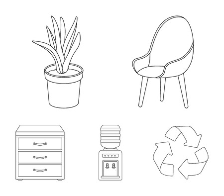 A red chair with a comfortable back, an aloe flower in a pot, an apparatus with clean water, a cabinet for office papers. 向量圖像