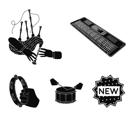 Synthesizer melodies, bagpipes Scotch and other web icon in black style. drum, drum roll, tambourine in hand icons in set collection.