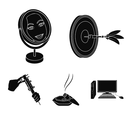 Game darts, reflection in the mirror and other web icon in black style. Cigar in ashtray, calipers in hands icons in set collection. Ilustracja