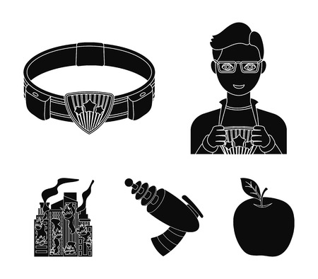 Man, young, glasses, and other  icon in black style. Superman, belt, gun icons in set collection. Illustration