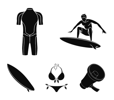 Surfer, wetsuit, bikini, surfboard. Surfing set collection icons in black style vector symbol stock illustration .