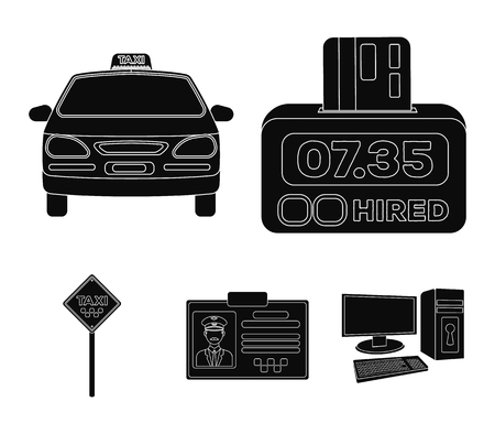 The counter of the fare in the taxi, the taxi car, the driver's badge, the parking lot of the car. Taxi set collection icons in black style vector symbol stock illustration web. Illusztráció