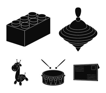 Yula, lego, drum, giraffe.Toys set collection icons in black style vector symbol stock illustration Иллюстрация