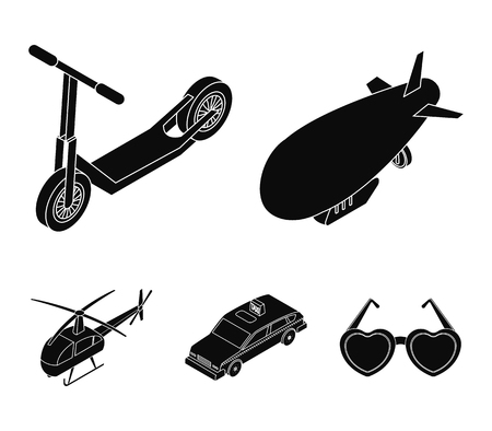 A dirigible, a childrens scooter, a taxi, a helicopter.Transport set collection icons in black style vector symbol stock illustration Illustration