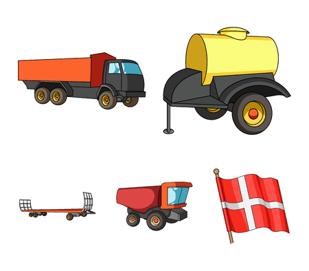 Trailer with a barrel, truck and other agricultural devices. Agricultural machinery set collection icons in cartoon style vector symbol stock illustration web. 向量圖像