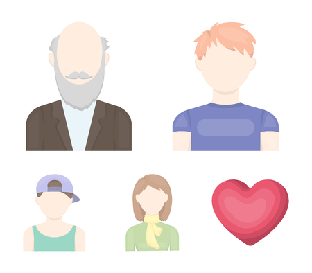 Boy in a cap, redheaded teenager, grandfather with a beard, a woman.Avatar set collection icons in cartoon style vector symbol stock illustration .