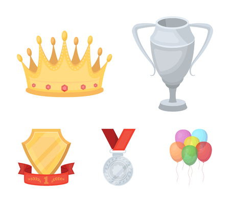 A silver cup, a gold crown with diamonds, a medal of the laureate, a gold sign with a red ribbon. Illustration