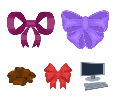 Ornamentals, frippery, finery and other  icon in cartoon style.Bow, ribbon, decoration, icons in set collection.
