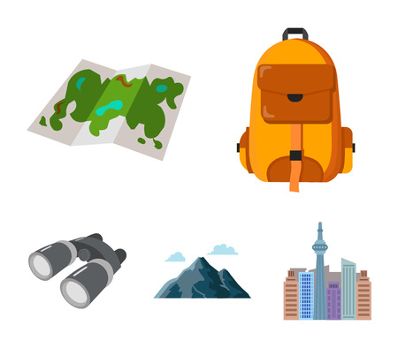 Backpack, mountains, map of the area, binoculars. Camping set collection icons in cartoon style vector symbol stock illustration .