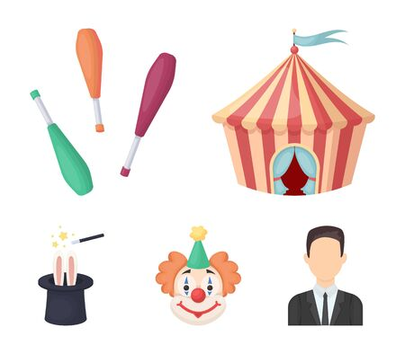 Circus tent, juggler maces, clown, magicians hat.Circus set collection icons in cartoon style vector symbol stock illustration web. Illustration