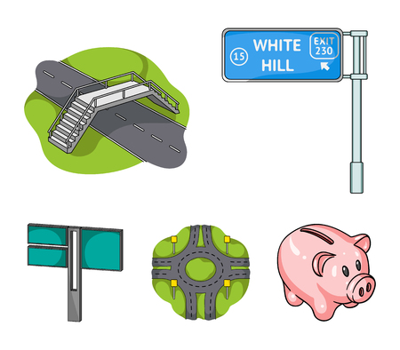 Direction signs and other web icon in cartoon style.Road junctions and signs icons in set collection. Illustration