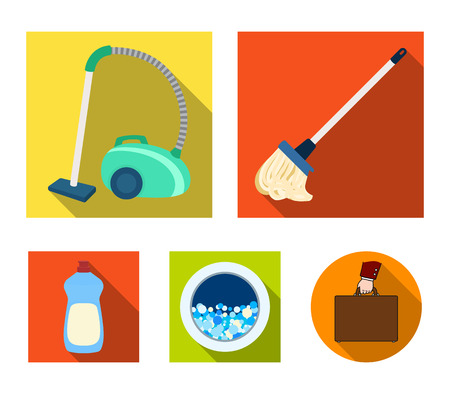 A mop with a handle for washing floors, a green vacuum cleaner, a window of a washing machine with water and foam, a bottle with a cleaning agent. Cleaning set collection icons in flat style vector symbol stock illustration web.