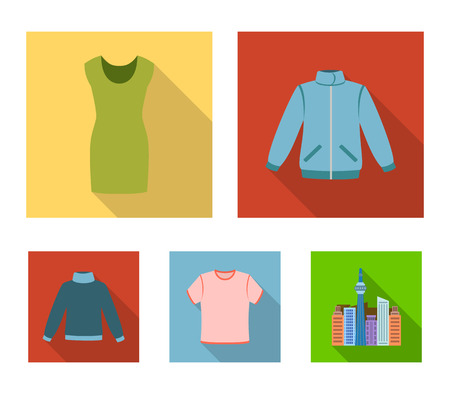 A mans jacket, a tunic, a T-shirt, a business suit. Clothes set collection icons in flat style vector symbol stock illustration web.