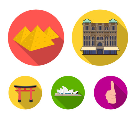 Building, interesting, place, palace, countries country set collection icons in flat style vector symbol stock illustration web.
