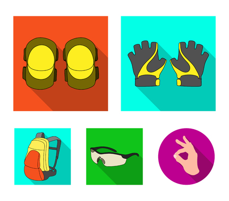 Gloves, elbow pads, goggles, cyclist backpack.Cyclist outfit set collection icons in flat style vector symbol stock illustration web.