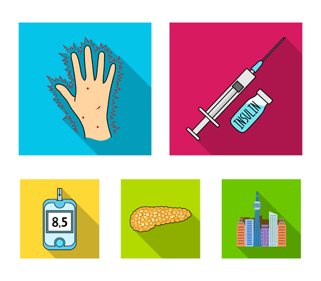 Syringe with insulin, pancreas, glucometer, hand diabetic. Diabet set collection icons in flat style vector symbol stock illustration .
