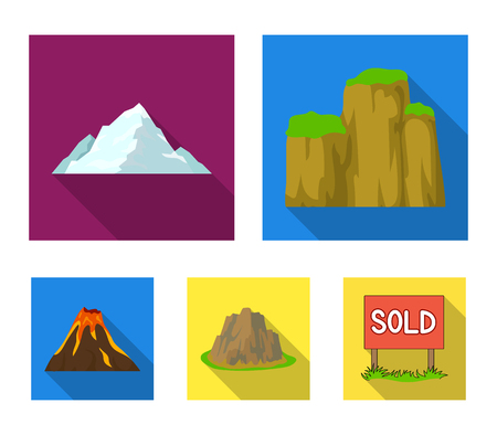 Sheer cliffs, a volcanic eruption, a mountain with a beach, a glacier. Different mountains set collection icons in flat style vector symbol stock illustration web.