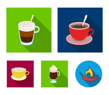 American, late, irish, cappuccino.Different types of coffee set collection icons in flat style vector symbol stock illustration web.