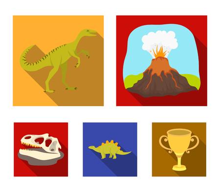 Volcanic eruption, gallimimus, stegosaurus,dinosaur skull. Dinosaur and prehistoric period set collection icons in flat style vector symbol stock illustration web.