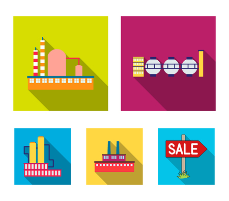 Industry, production.Factory set collection icons in outline style vector symbol stock illustration . Ilustracja