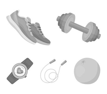Dumbbell, rope and other equipment for training.Gym and workout set collection icons in monochrome style vector symbol stock illustration . Illustration