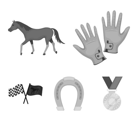 Race, track, horse, animal .Hippodrome and horse set collection icons in monochrome style vector symbol stock illustration web. 向量圖像