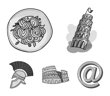 Pisa tower, pasta, coliseum, Legionnaire helmet.Italy country set collection icons in monochrome style vector symbol stock illustration .
