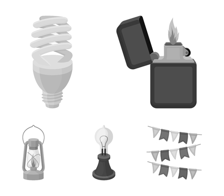 Lighter, economical light bulb, edison lamp, kerosene lamp.Light source set collection icons in monochrome style vector symbol stock illustration .