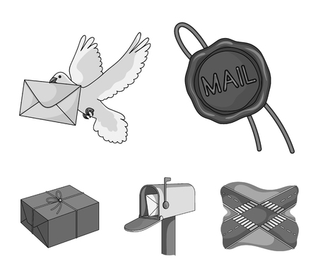 Wax seal, postal pigeon with envelope, mail box and parcel.Mail and postman set collection icons in monochrome style vector symbol stock illustration . Archivio Fotografico - 95086506