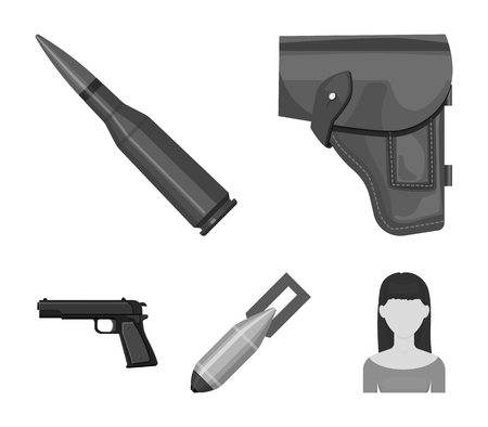 Holster, cartridge, air bomb, pistol. Military and army set collection icons in monochrome style vector symbol stock illustration . Illustration