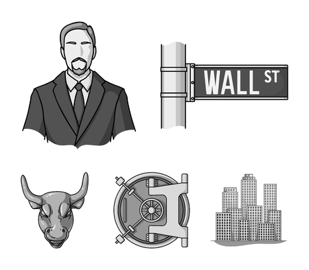 Wall Street, a businessman, a bank vault, a gold charging bull. Money and finance set collection icons in monochrome style vector symbol stock illustration web.