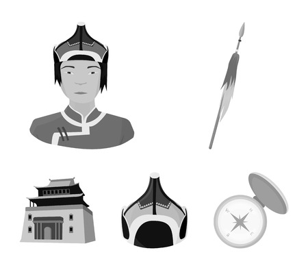 Military spear, Mongolian warrior, helmet, building.Mongolia set collection icons in monochrome style vector symbol stock illustration .