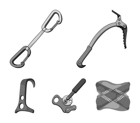 An ice ax, a carbine and other equipment.Mountaineering set collection icons in monochrome style vector symbol stock illustration .