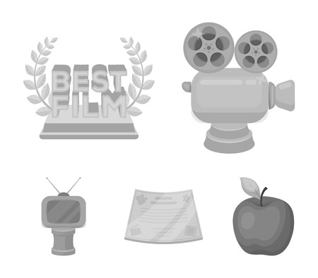 Silver camera, a bronze prize in the form of a TV and other types of prizes. Movie awards set collection icons in style vector symbol stock illustration .