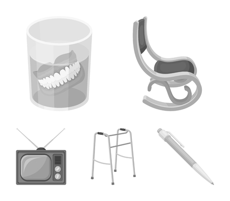 Denture, rocking chair, walker, old TV.Old age set collection icons in monochrome style vector symbol stock illustration . Illustration