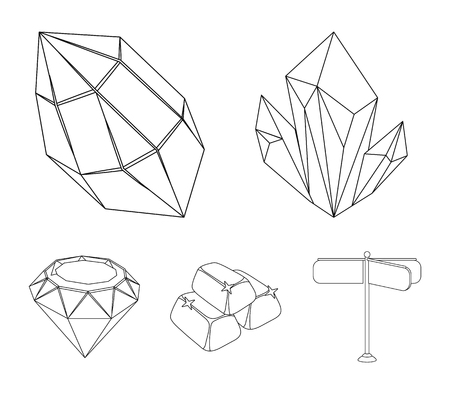 Crystals, minerals, gold bars. Precious minerals and jeweler set collection icons in outline style vector symbol stock illustration .