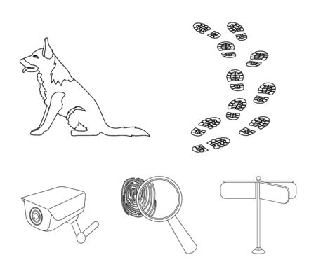 Traces on the ground, service shepherd, security camera, fingerprint. Prison set collection icons in outline style vector symbol stock illustration.